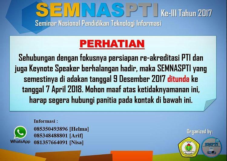 Seminar Nasional III Pendidikan Teknologi Informasi Tahun 2017